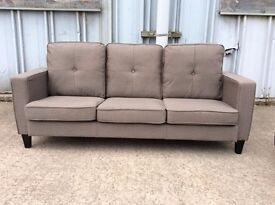Grey Cameron 3 Seat Fabric Sofa - Brand New - £199 Including Free Local Delivery