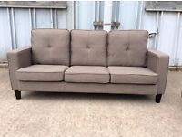 Grey Cameron 3 Seat Fabric Sofa - Brand New - £150 Including Free Local Delivery
