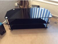 """Black Glass tv corner unit . Will suit tv up to 55"""""""