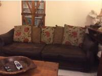2 Brown leather sofas 4 seater and 2 seater cushions included