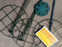 3 New Grid Plant Support Frames. 30 cm diameter and 7 hole Bamboo Cane Holder