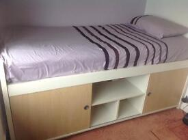 Single bed with storage under and mattress