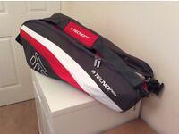 TECNO Pro Tennis Racket Bag (red, white, grey) holds 3-6 rackets