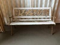GARDEN BENCH WITH CAST IRON BENCH ENDS 3 SEATER / 2 SEAT OUTDOOR BENCH