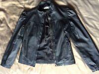 VGC Womans Ladies Miss Selfridge Black Leather Jacket (Size 8 - 100% Leather)