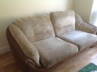Two sofas -2 seater and 3 seater, beige chenille and chocolate brown
