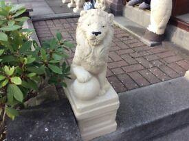 Concrete garden pair of lion ornaments