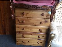 Reduced solid pine chest of drawers