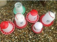 Chicken / bird feeders drinkers 6 off as new see photos , various sizes , mallusk area