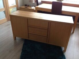 Sterling Oak dining table 6 brown leather chairs and matching sideboard