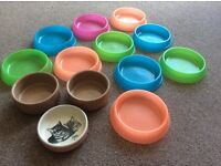 CAT, SMALL DOG OR SMALL ANIMALS FOOD/ WATER BOWLS X 13, 3 X CERAMIC MASON CASH AND 10 PLASTIC