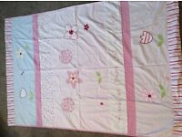Next Girls single bed set with matching curtains