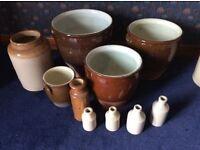 Antique stoneware storage pots jars and bottles