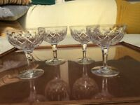 Four champagne cup with pretty decoration