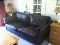 2 John Lewis sofas, 1x2 seater and 1x3 seater brown leather