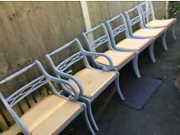 SIX REGENCY DINING CHAIRS LOOKING FOR AN UPHOLSTERY ENTHUSIAST GOING CHEAP
