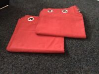 X2pairs of fully lined red Harry Corry curtains
