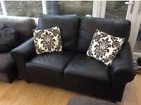 Black Faux leather two seater sofa