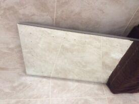 Flat bathroom mirror with led lights.