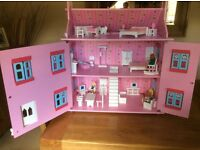 Pink Dolls House as new little played with lots of furniture as seen on photos.