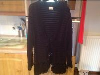 Jet black cardigan by ROMAN size M/L. Beautiful soft warm & cosy. Intricate hem, neck, cuff detail.