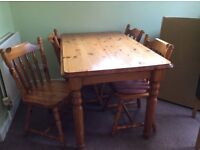 Antique Pine dinning table and 6 chairs