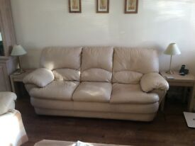 3-seater leather sofa, cream/ivory. Bargain at £20