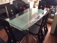 Glass top dining table extendable, 6 chairs vgc can deliver