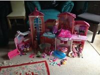 Large Barbie dreasm house, winter lodge and extras