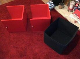 2 x IKEA Red Storage Cupboards and 2 x Black Drawers
