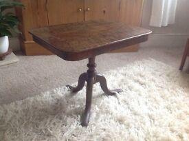 Antique walnut veneer side table