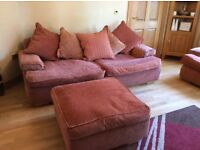 immaculate suite.4 seater sofa ,2 chairs and large foot stool.