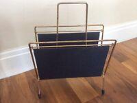 Retro/vintage 1950's vinyl/storage magazine rack navy blue/gold metal Sputnik