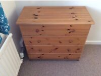SOLID PINE FOUR DRAWER CHEST OF DRAWERS