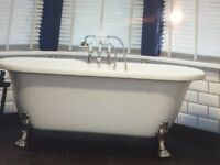 Victorian freestanding oval bath with mixer tap and shower fitting