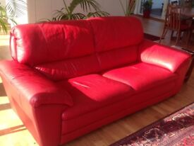 2 Red Leather Sofas and I Pouffe/Footstool