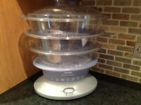 Tefal food steamer, as new condition as hardly used