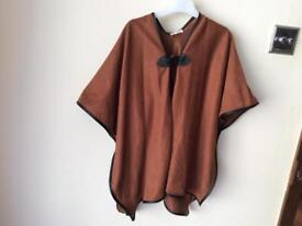 River island girls brown faux suede poncho/cape