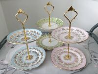 3 MINI 2 Tier Biscuit / Trinket Stands. Pink, Blue, Green.
