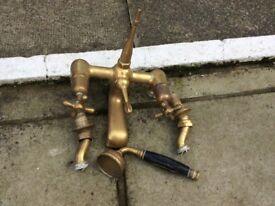 Antique brass bath/shower taps