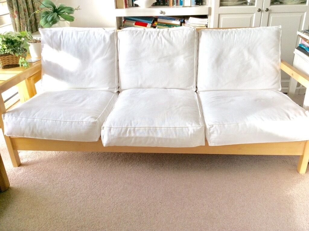 Ikea Lillberg Three Seater Sofa White Birch Wood Frame