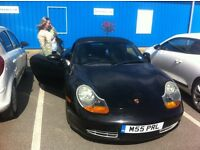 porsche boxster black manual, black leather, full MOT today