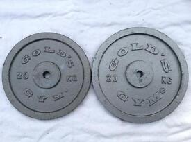 2 x 20kg Gold's Gym v1 Standard Cast Iron Weights (Different Diameter)