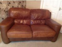 Antique Brown Leather Sofa 1 x 2 seater, 1 x 3 seater