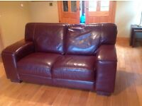 3 Piece Brown Leather Sofa For Sale.