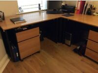 Beech Corner desk with large work area & 2 matching drawer/filing units