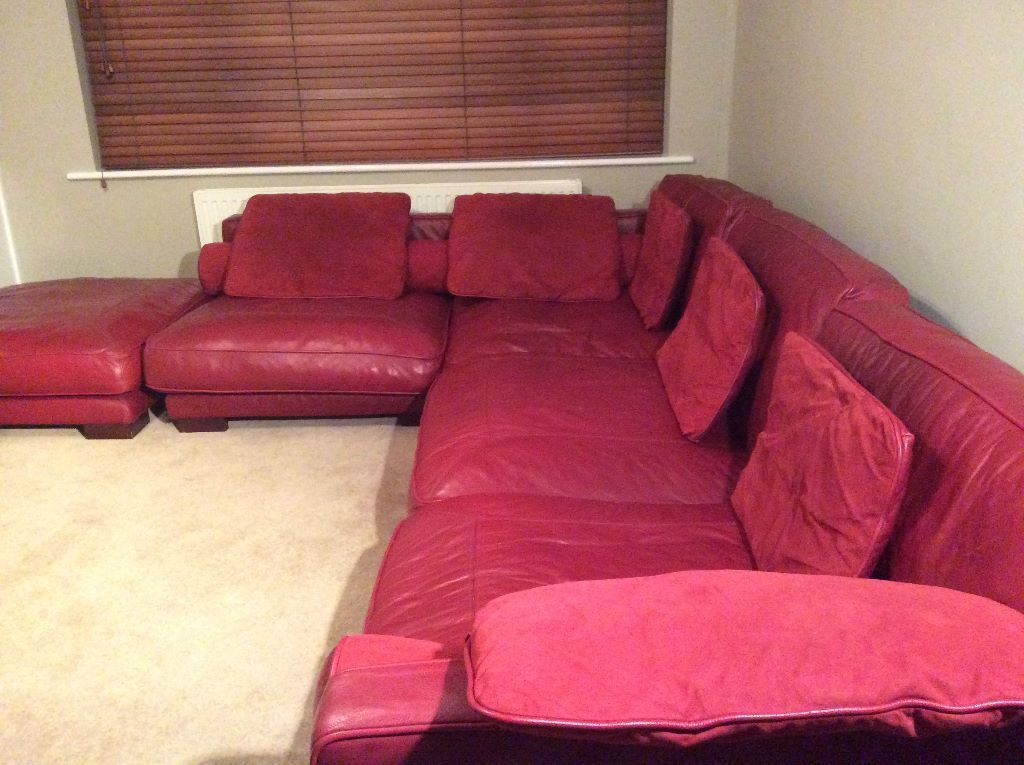 Dfs quotcaliforniaquot dark red burgundy modular leather corner for Red leather modular sectional sofa