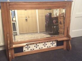 REDUCED shabby chic project? Antique wash stand mirror with tiles / wooden surround