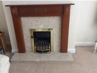 Gas fire with Woden Surround and marble hearth oak colour