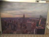Large New York/ Manhattan colour, silver framed print, 1mx140